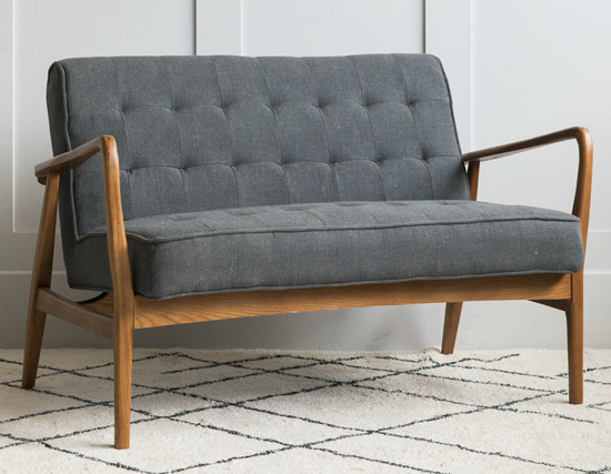 Mid-century linen sofa and armchair at Rose & Grey