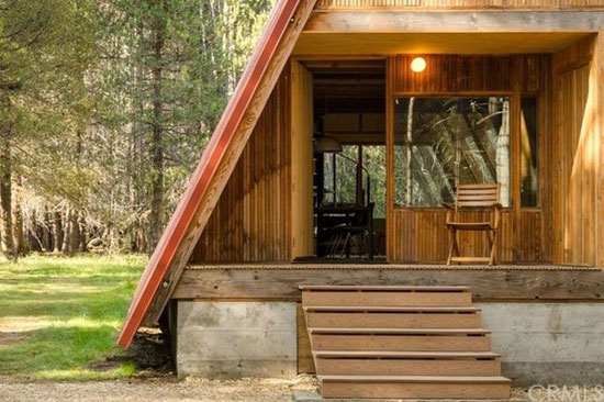 1960s A-frame house and additional buildings in  Bass Lake, California, USA