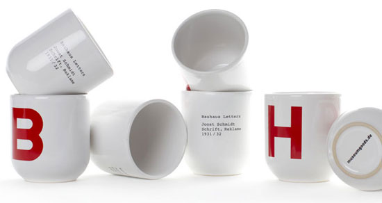 Design spotting: Bauhaus Letters cups at Museum Goods