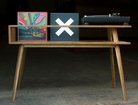 Vintage-style record player tables by BnE Studio