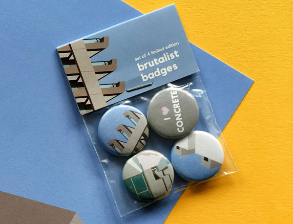 I Love Concrete badge set
