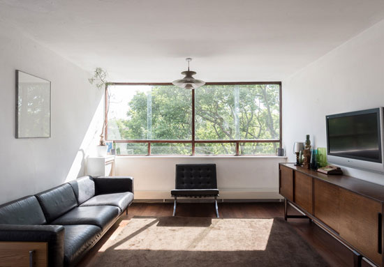 Two-bedroom apartment in the 1960s Copper Beech building, London N6