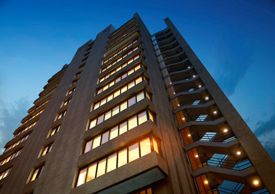 Show apartment opens in the renovated Blake Tower on the Barbican Estate, London EC2