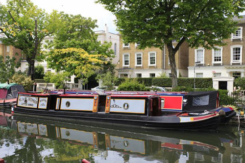 On the market: Narrowboat moored at Little Venice, London W9