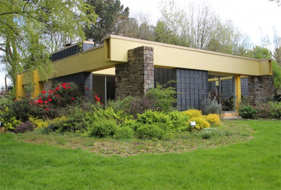 1980s modernist house in Kergrist-Moelou, Brittany, northwestern France