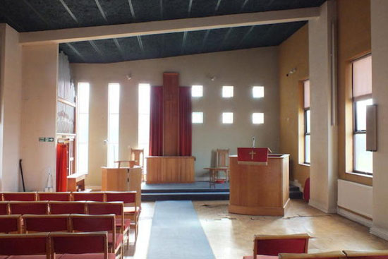 1970s modernist methodist church in Mangotsfield, Bristol, Avon