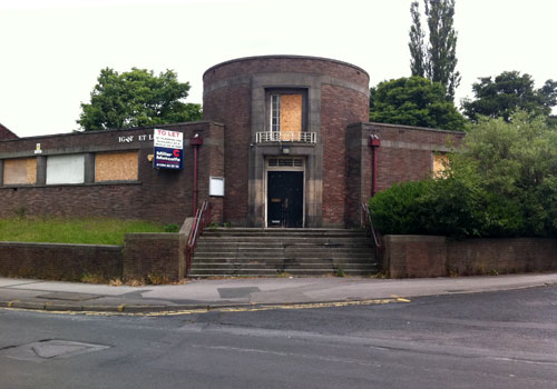 Derelict: 1930s public library in Breightmet, Bolton, Lancashire