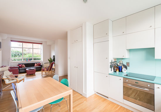 Three-bedroom apartment in the 1930s Burnet, Tait and Lorne-designed Bruno Court, London E8