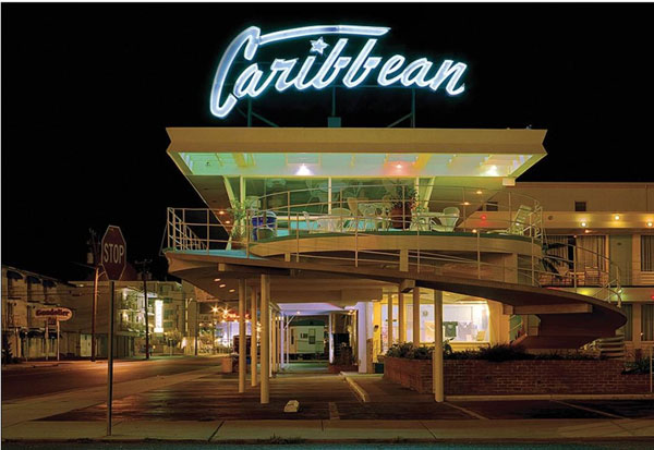 1950s midcentury modern Caribbean Motel in Wildwood Crest, New Jersey, USA