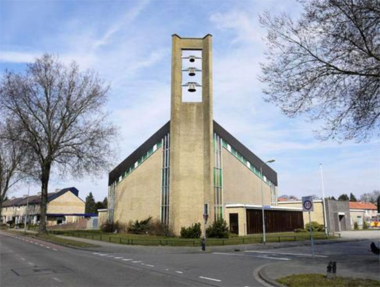 Modernist project for sale: 1960s Dick Egberts-designed church in Harderwijk, Gelderland, Holland