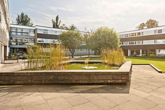 On the market: Three-bedroom apartment in the 1950s grade II-listed Highsett development in Cambridge, Cambridgeshire