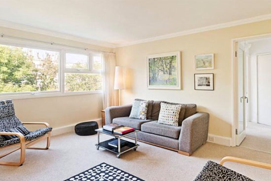 Three-bedroom apartment in the 1950s grade II-listed Highsett development in Cambridge, Cambridgeshire