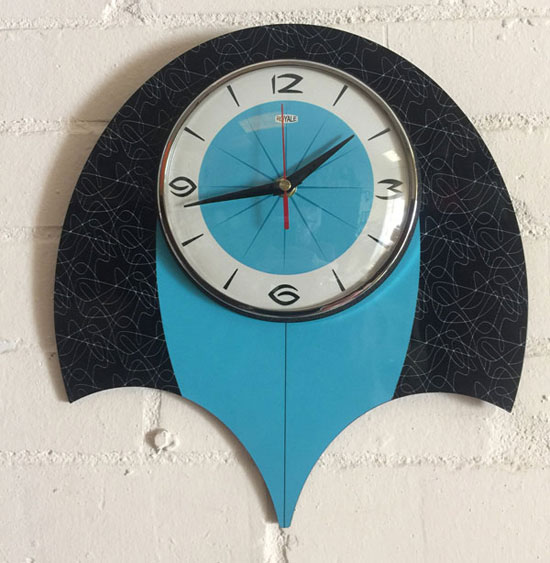 1950s-style midcentury modern clocks by Royale Enamel
