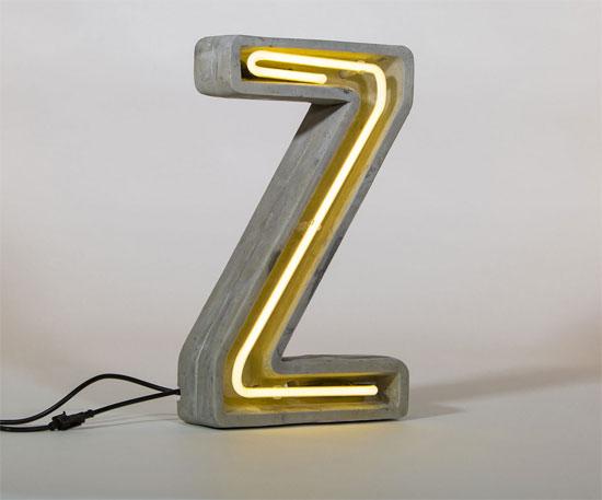 Design spotting: Concrete letter lamps by Seletti