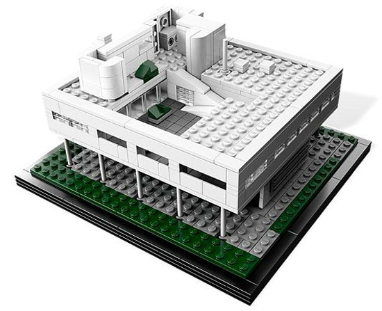 Lego version of the Villa Savoye modernist house by Le Corbusier
