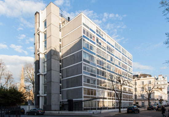 One-bedroom split-level apartment in the grade II-listed Kenneth Frampton-designed Corringham building in London W2