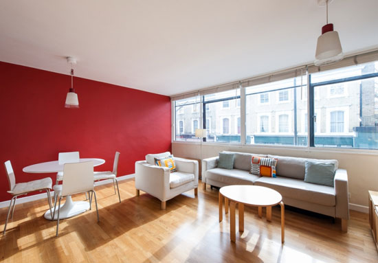 One-bedroom split-level apartment in the grade II-listed Kenneth Frampton-designed Corringham building in London W2