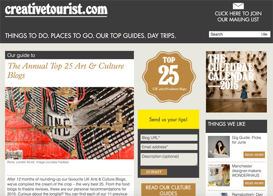 WowHaus features in the Annual Top 25 Arts and Culture blogs at Creative Tourist