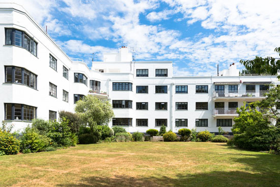 Two-bedroom art deco apartment in the William Bryce Binnie-designed West Hill Court in London N6