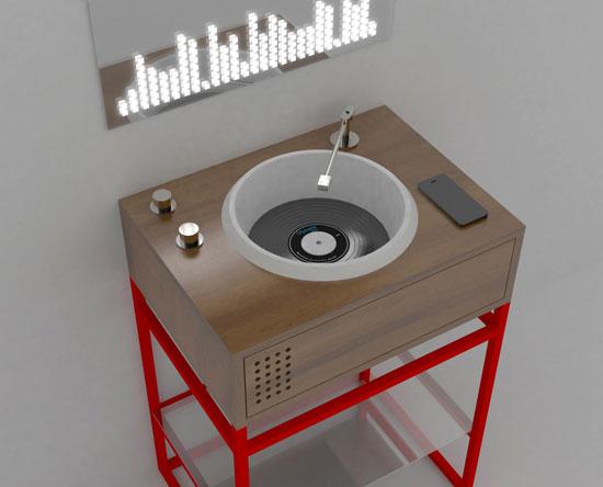Vinyl bathroom units inspired by DJ decks
