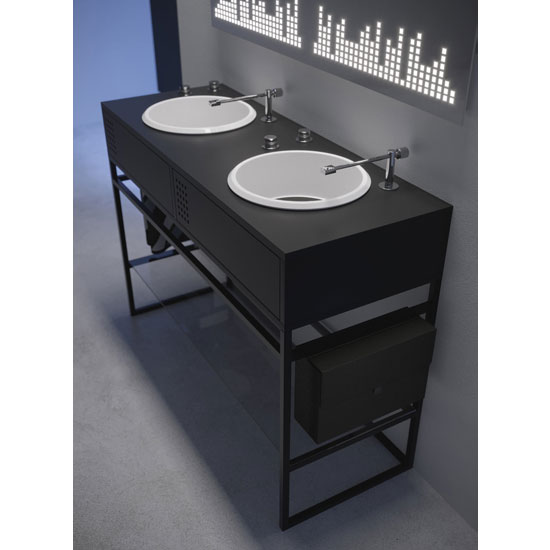 Vinyl bathroom units inspired by DJ decks