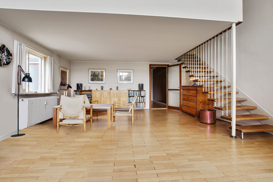 Arne Jacobsen modernism: 1950s townhouse in the Bellevue complex, Klampenborg, near Copenhagen, Denmark