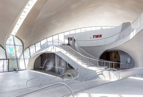 Inside the Eero Saarinen-designed TWA Terminal of New York's JFK Airport