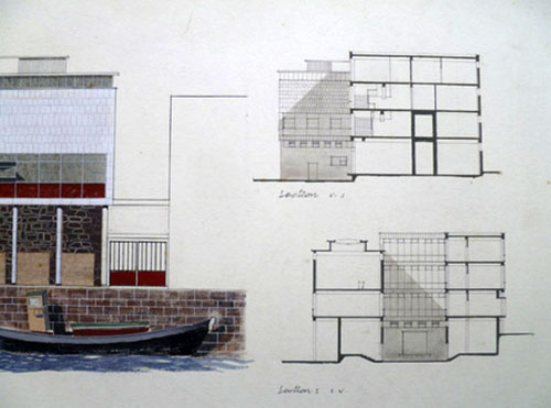 Glasgow School of Art 1960s modernist architectural drawing on eBay