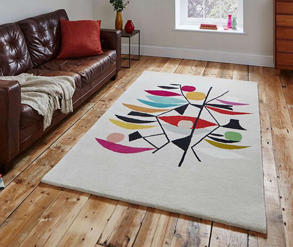 Midcentury interior: Inaluxe abstract rugs