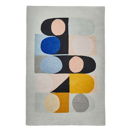 Midcentury interior: Inaluxe abstract rugs at Dunelm