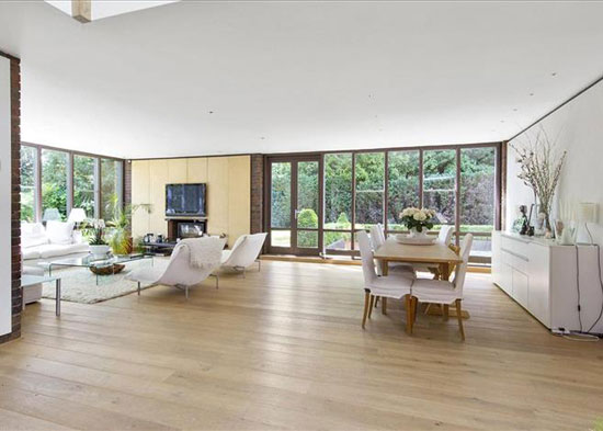 1970s Royston Summers-designed modernist lakeside house in Esher, Surrey