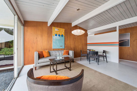 Restored Eichler: 1950s midcentury modern property in San Rafael, California, USA
