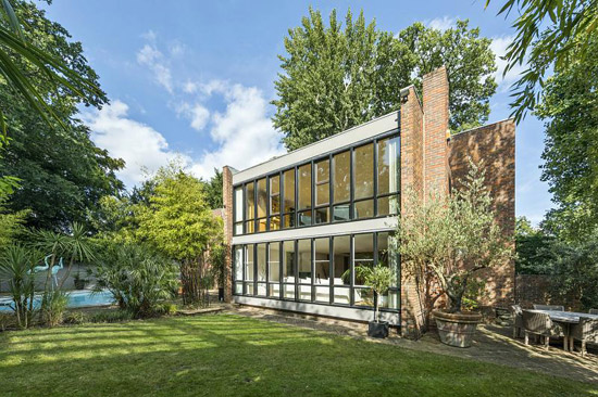 1970s Royston Summers lakeside modern house in Esher, Surrey