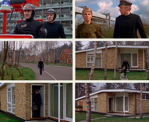 Fahrenheit 451 scenes in the Midcentury Renway bungalow in Edgcumbe Park, Crowthorne, Berkshire