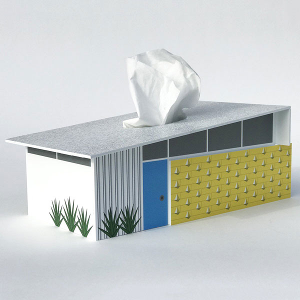 1. Midcentury modern house tissue box covers by Destination PSP