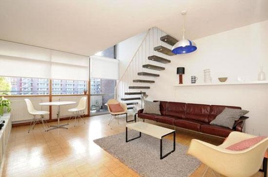 On the market: Two bedroom split-level apartment in Hatfield House in the 1950s grade II-listed Golden Lane Estate, London EC1