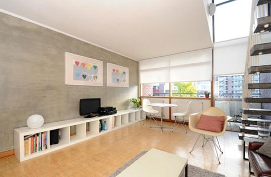 Two bedroom split-level apartment in Hatfield House in the 1950s grade II-listed Golden Lane Estate, London EC1