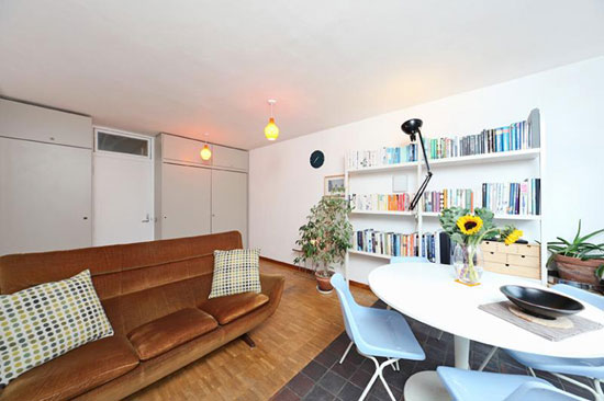 First floor studio apartment in Cullum Welch House in the 1950s grade II-listed Golden Lane Estate, London EC1