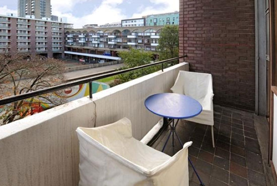 Two bedroom split-level apartment in Hatfield House in the 1950s grade II-listed Golden Lane Estate, London EC1