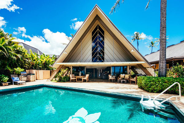 1950s A-frame beach house in Honolulu, Hawaii, USA