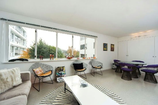 Two bedroom apartment in the 1930s grade I-listed Berthold Lubetkin-designed Highpoint building, Highgate Village, London N6