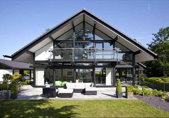Five-bedroom modernist Huf Haus in Burcot, near Bromsgrove, Worcestershire
