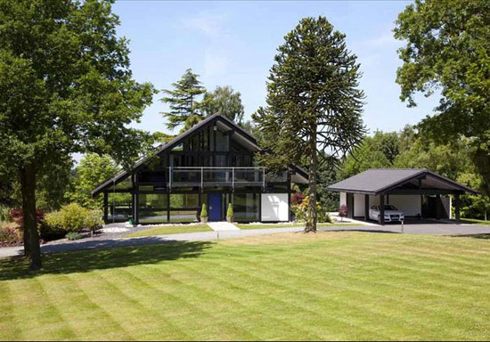 Five-bedroom modernist Huf Haus in Burcot, near Bromsgrove, Worcestershire
