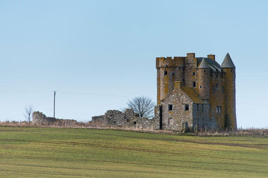 In need of renovation: 16th century Inchdrewer Castle in Banff, Aberdeenshire – sold with a baronial title