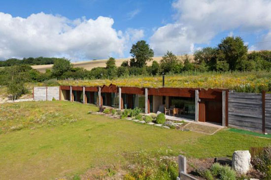 Pauline Karminski-designed earth-sheltered house in Elham Valley, Kent