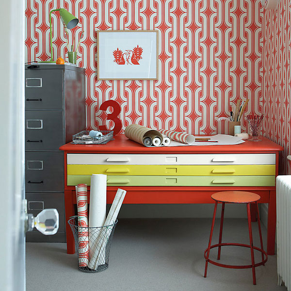 1970s walls: Lavaliers wallpaper by Little Greene Paint Company