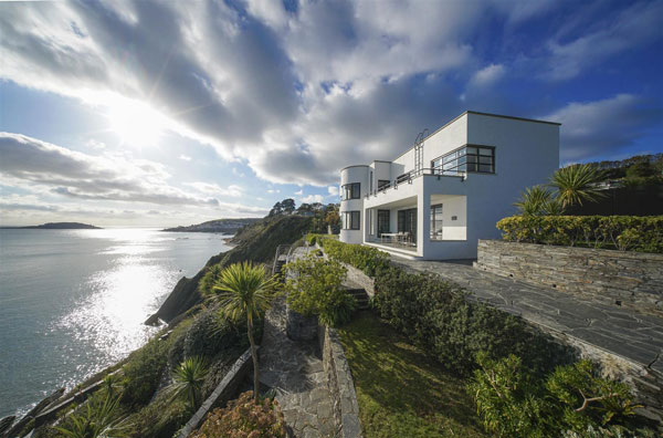 1930s Gradna House coastal art deco property near Looe, Cornwall