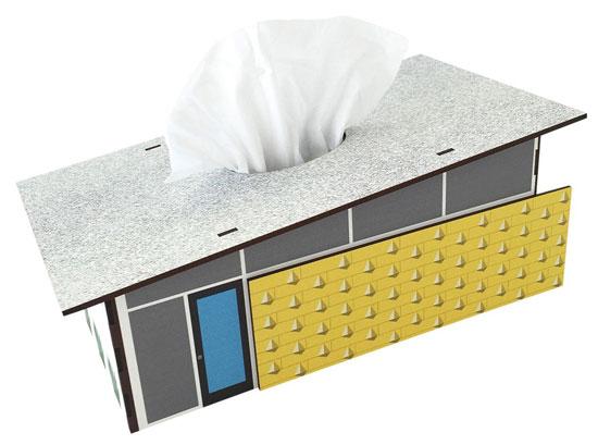 Midcentury modern house tissue boxes