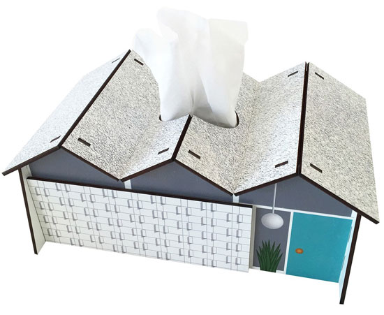 Midcentury modern house tissue boxes