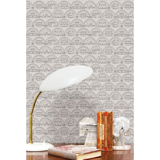 Houses on walls: Metroland wallpaper by Mini Moderns
